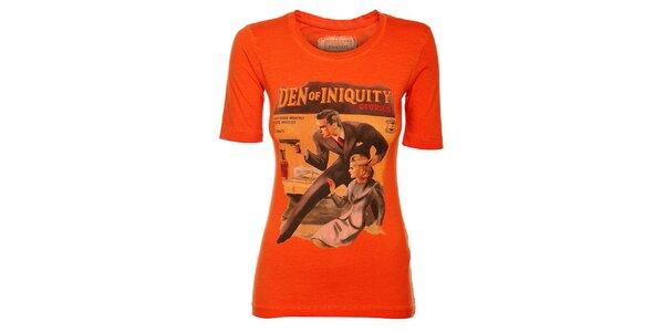 Dámské oranžové tričko Timeout s barevným potiskem