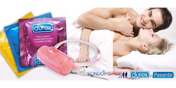 Valentýnský balíček kondomů Durex a Pasante