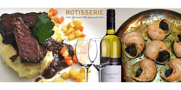 Luxusní 5chodová večeře a degustace francouzského vína