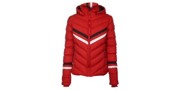 Dámská červená prošívaná bunda Trimm Bella s barevnými proužky