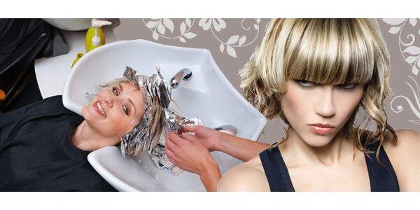 Moderní střih vlasů včetně melíru či barvy