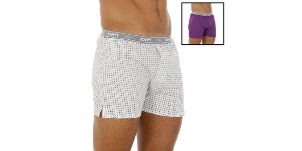 Dvoje boxerky DIM fialové a bílé se vzorkem