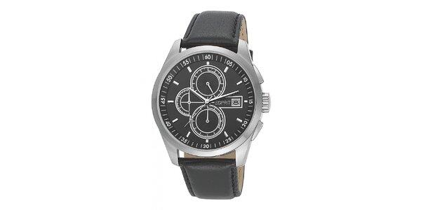 Pánské černé analogové hodinky s chronografem Esprit