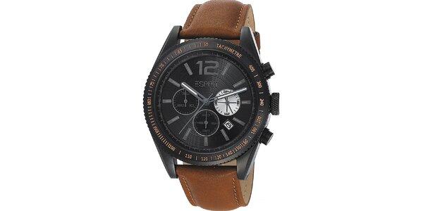Pánské černé hodinky s tachymetrem a chronografem Esprit