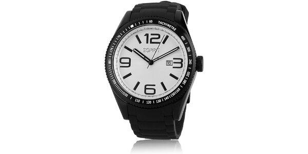 Pánské černé hodinky s tachymetrem a bílým ciferníkem Esprit