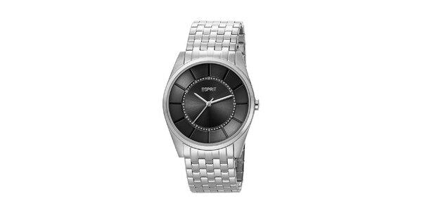 Pánské stříbrné analogové hodinky Esprit s černým ciferníkem
