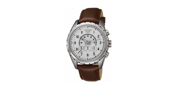 Pánské hnědo-stříbrné ocelové hodinky Esprit