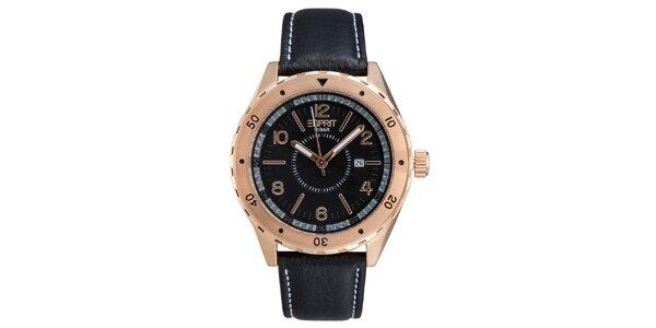 Pánské růžovozlaté hodinky s černým řemínkem Esprit