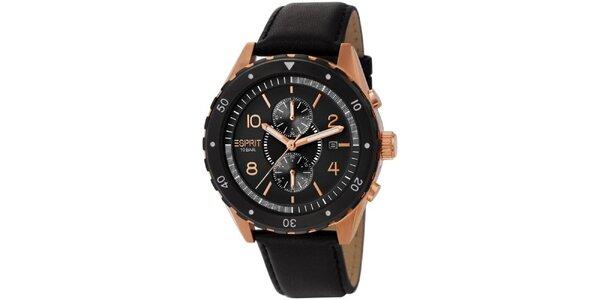 Pánské černé analogové hodinky se zlacenými detaily Esprit