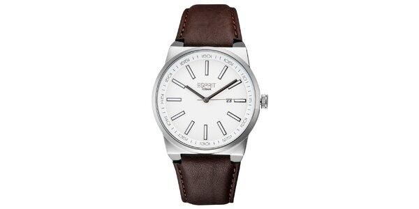 Pánské stříbrné hodinky s hnědým řemínkem Esprit