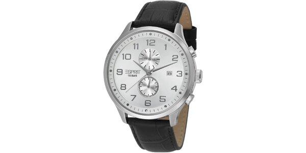 Pánské stříbrné hodinky Esprit s chronografem a bílým ciferníkem
