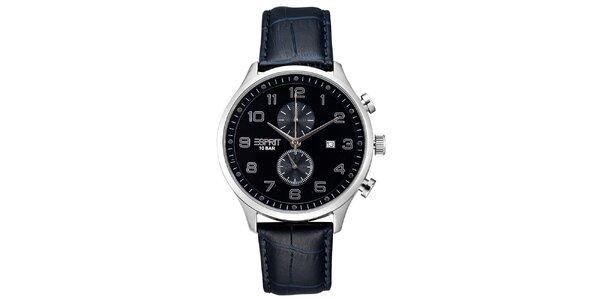 Pánské stříbrné hodinky Esprit s chronografem a modrým řemínkem