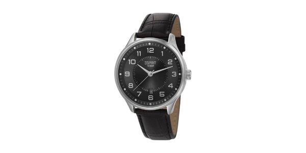 Pánské stříbrné hodinky Esprit s koženým řemínkem