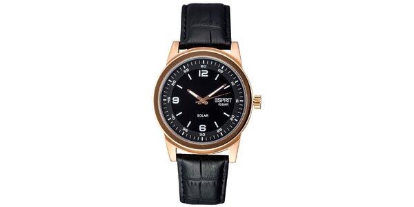 Pánské zlaté ocelové hodinky s koženým řemínkem Esprit