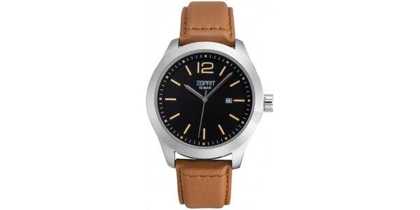 Pánské hodinky s černým ciferníkem a hnědým řemínkem Esprit