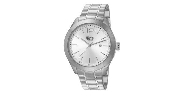 Pánské hodinky se stříbrným ciferníkem a řemínkem Esprit