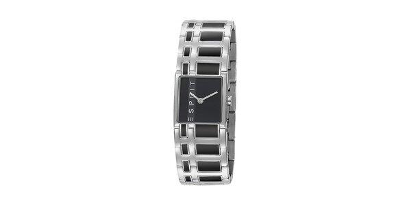 Dámské stříbrné ocelové hodinky Esprit s černým vykládáním