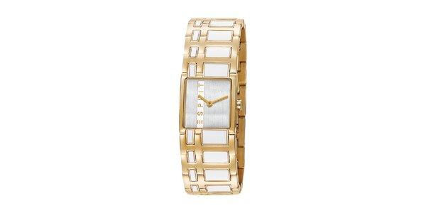 Dámské zlaté hodinky Esprit s bílým vykládáním