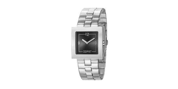 Dámské hodinky Esprit s hranatým antracitovým ciferníkem ve stříbrné barvě