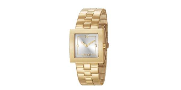 Dámské hodinky Esprit s hranatým ciferníkem ve zlaté barvě