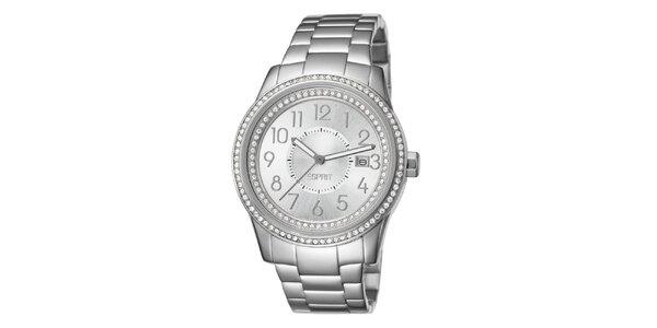 Dámské stříbrné hodinky s krystalky Esprit