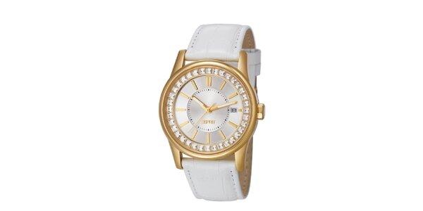 Dámské zalto-bílé hodinky s bílým řemínkem Esprit