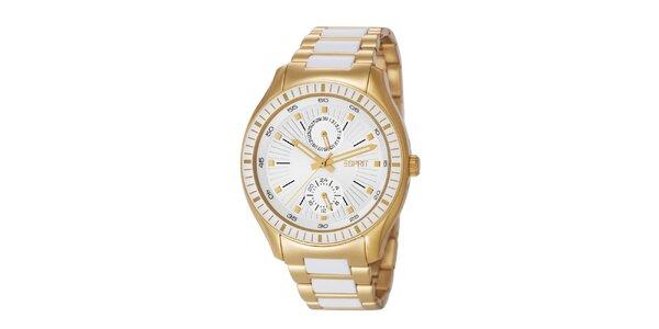 Dámské zlaté hodinky s minutovým ciferníkem Esprit