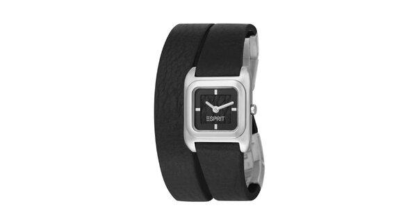 Dámské stříbrné hodinky Esprit s dvojitým černým řemínkem
