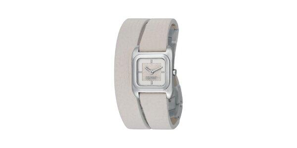 Dámské stříbrné hodinky Esprit s dvojitým bílým řemínkem