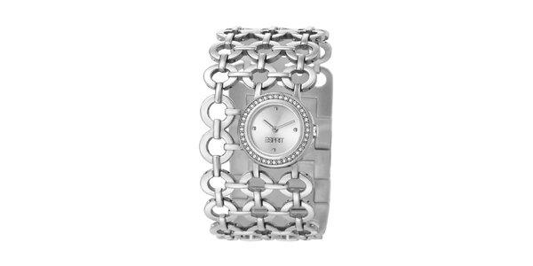 Dámské stříbrné hodinky Esprit s kroužkovým náramkem a krystaly