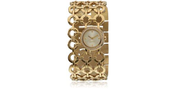 Dámské zlaté hodinky Esprit s kroužkovým náramkem