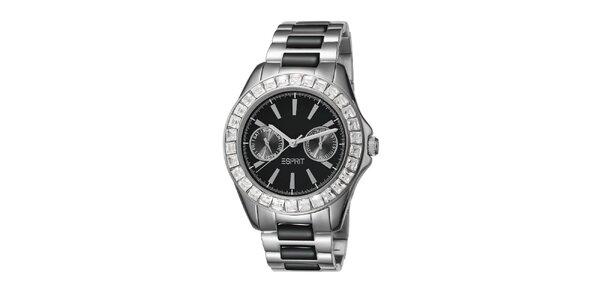Dámské černo-stříbrné hodinky s keramickým náramkem Esprit