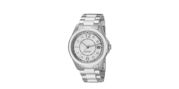 Dámské stříbrno-bílé náramkové hodinky Esprit