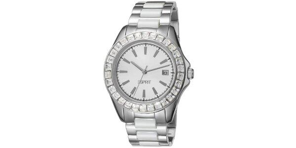 6b94c8d987f Dámské keramické hodinky Esprit stříbrné s kamínky