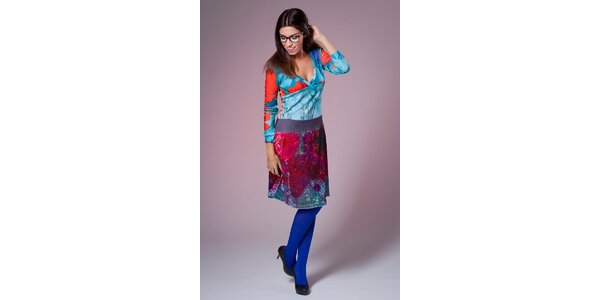 Dámské modro-červené šaty Culito from Spain