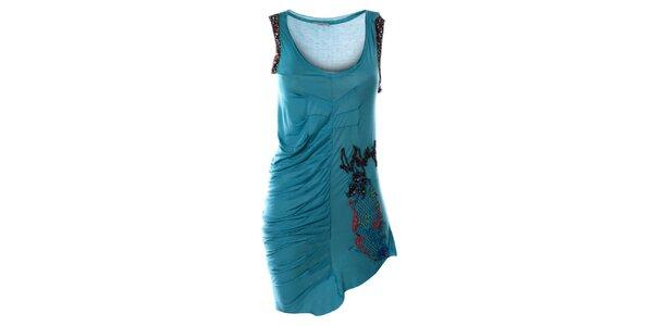 Dámské tyrkysové šaty bez rukávů s výšivkou Angels Never Die