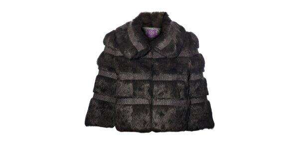 Dámský tmavě šedý kožešinový kabátek Hope