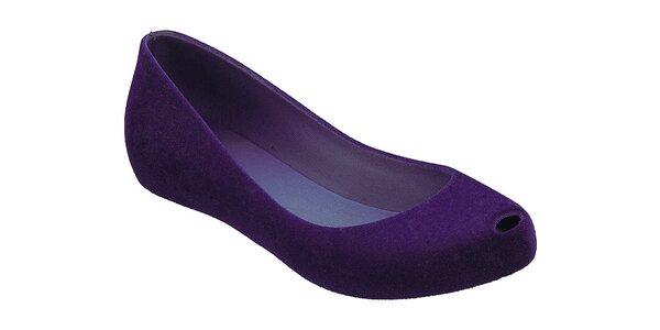 Dámské fialové baleríny Malissa s otevřenu špičkou a semišovou úpravou