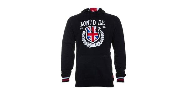 Pánská černá mikina Lonsdale s bílým potiskem a anglickou vlajkou
