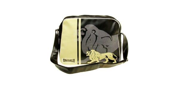 Pánská černo-béžová taška s potiskem Lonsdale