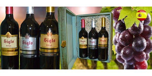 Kolekce tří španělských červených vín v dárkové ručně vyřezávané dřevěné krabici