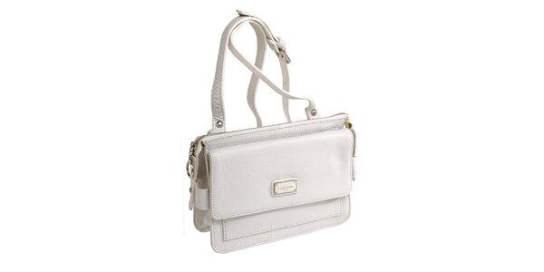 Dámská bílá kožená kabelka s visačkou Fuchsia