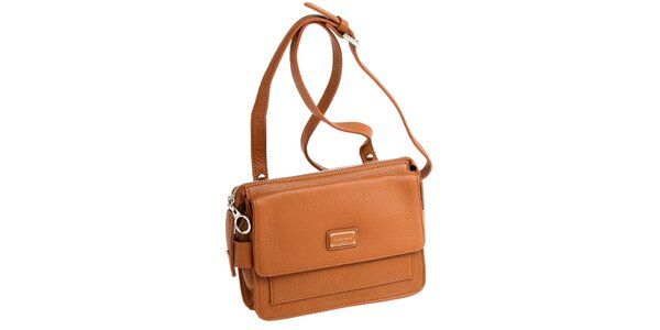 Dámská koňaková kožená kabelka s visačkou Fuchsia