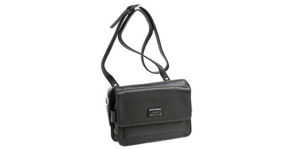 Dámská černá kožená kabelka s visačkou Fuchsia