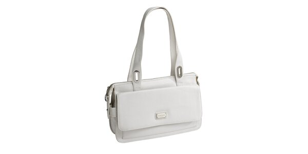 Dámská bílá kožená kabelka se dvěma uchy Fuchsia