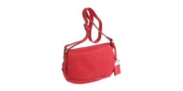 Dámská červená oválná kabelka přes rameno