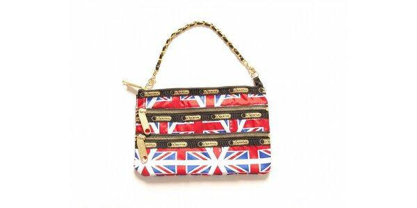 Taštička se třemi kapsami s motivem anglické vlajky