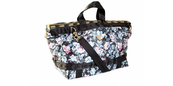 Černá kabelka s motivem růží