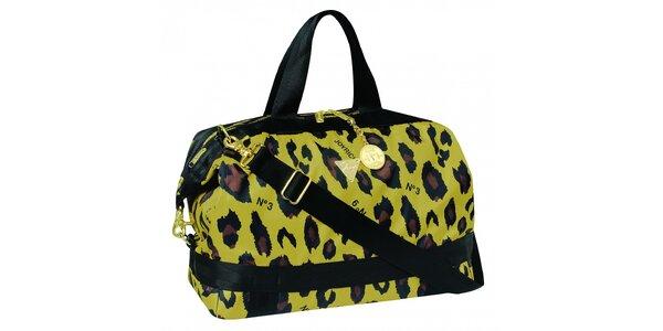 Žluto - hnědá kabelka s leopardím motivem
