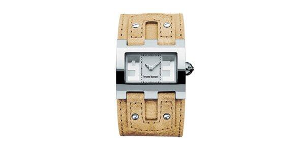 Dámské béžovo-stříbrné náramkové hodinky Bruno Banani